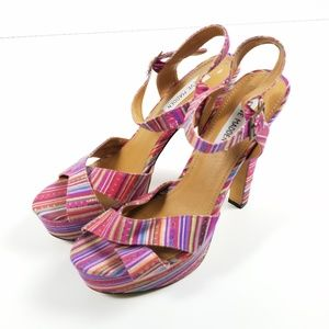 Steve Madden Pink Striped Canvas Raimi Heels